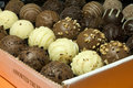 Assorted truffles box Stock Photo