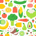 Assorted vegetables healthy food seamless pattern vector.