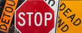 Assorted vintage traffic signs Royalty Free Stock Photo