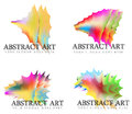 Assortment of abstract rainbow art logos four with shapes and colors Royalty Free Stock Photos