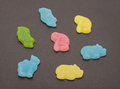 Assortment of animal shape jelly candies isolated shaped from Stock Photo