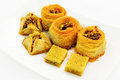Assortment of baklava arabic with pistachios traditional arabic dessert Stock Image
