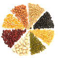 Assortment of beans and lentils in wooden spoon with wood box ma macadamia isolated on white mung bean groundnut soybean red Stock Image