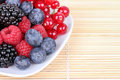 Assortment of berries on plate Royalty Free Stock Images
