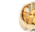 Assortment of bread in basket, copyspace Royalty Free Stock Photo