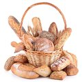 Assortment of bread isolated on white Stock Photo