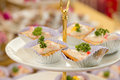 Assortment of canapes select focus Royalty Free Stock Images