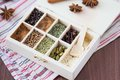 Assortment collection of spices and herb in wooden box, food Royalty Free Stock Images