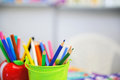 Assortment of colored pencils drawing drawing in a variety colors Stock Image