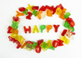 Assortment of colorful candy letters Stock Images