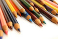 Assortment of coloured pencils on white background Royalty Free Stock Photo