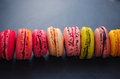 Assortment of delicious macaroons in various flavor.