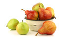 Assortment of different colorful pears Royalty Free Stock Image