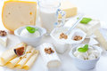 Assortment of different dairy products on white background Stock Photography