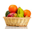 Assortment of exotic fruits in basket Royalty Free Stock Photo