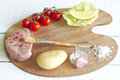 Assortment of food on paint palette culinary idea Royalty Free Stock Photo
