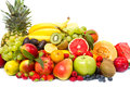 Assortment of fresh fruits isolated on white Royalty Free Stock Photos