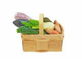 Assortment fresh vegetables basket Royalty Free Stock Images