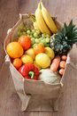 Assortment of fruit and vegetable in eco bag Royalty Free Stock Photo
