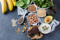 Assortment of healthy high magnesium sources food Royalty Free Stock Photo