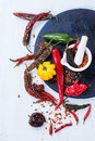 Assortment of hot chili peppers Royalty Free Stock Photo