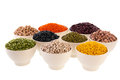 Assortment legumes in white bowls Stock Photo