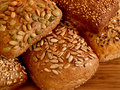 Assortment of multi-grain bread rolls Royalty Free Stock Images