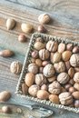 Assortment of nuts in the basket Royalty Free Stock Photo