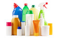 Assortment plastic bottles white Stock Photos
