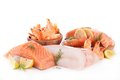 Assortment of raw fish isolated on white Royalty Free Stock Photography