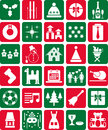 Assortment red green christmas winter icons symbols Royalty Free Stock Photos
