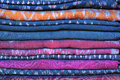 Assortment sarongs for sale market Stock Photos