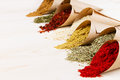 Assortment of scattered powder spices close-up on white wooden board with copy space. Royalty Free Stock Photo