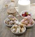Assortment of shredded wheat cereal with berries Royalty Free Stock Photo
