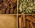Assortment of spices in the box star anise cardamom brown sug sugar and cinnamon sticks Stock Photos