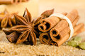 Assortment of spices for christmas star anise cardamom brown sugar and cinnamon sticks Stock Image