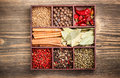 Assortment spices wooden box Stock Photos