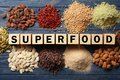 Assortment of superfood products with cubes Royalty Free Stock Photo