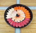 Assortment of Sushi in Round Plate Stock Images