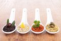 Assortment of tapenade close up on Royalty Free Stock Images