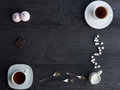 An assortment tea, coffee, marshmallow and chocolate. Royalty Free Stock Photo