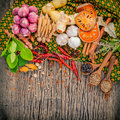 Assortment of Thai food Cooking ingredients spice taste ,health