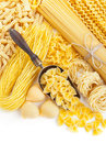 Assortment of uncooked pasta on white background Stock Images