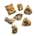 Assortment of used wet tea bags on a white background Royalty Free Stock Photos