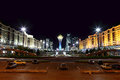 Astana night town square of Stock Photography