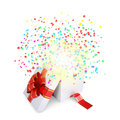 Asterisks fly from the open gift box christmas magic Royalty Free Stock Image