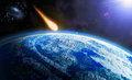 Asteroid danger from space armageddon Royalty Free Stock Images