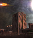 Asteroid over city depiction Royalty Free Stock Image