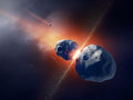 Asteroids collide and explode in space deep Stock Photos