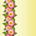Asters and wild flowers line on yellow background Stock Photos